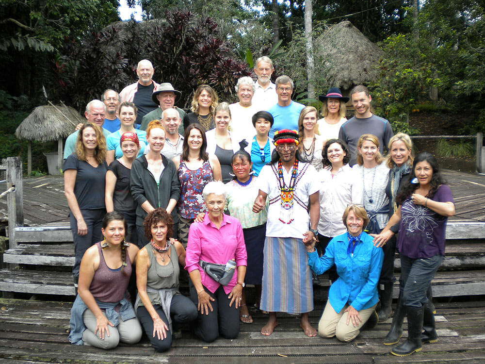 The Amazon group along with some of the Pachamama Alliance and Achuar leaders